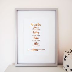 Personalised Family Dates Foil Print Personalised Family Print, Personalized Gifts, Mr And Mrs Jones, Foil Art, All Print, Artwork Prints, Dates, Card Stock, Lily