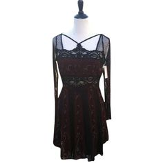 Pre-owned Free People Black Combo Bohemian Eclectic Goth Dress found on Polyvore featuring polyvore, fashion, clothing, dresses, black combo, goth dress, gothic dress, boho chic dresses, cutout dress and black cut out dress