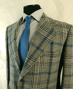 Vintage 1970s Mens Sport Coat. Bold Plaid. Richman Brothers Sportsman. 46 Long. XL