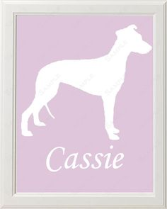 Personalized Whippet Dog Silhouette Art Print 8 X 10 Dog Print Pet Gifts on Etsy, $14.99