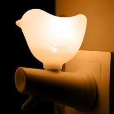 nachtlampje vogel op tak 1 wit