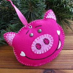 Wool Felt Pig Ornament Hanger In Shocking Pink