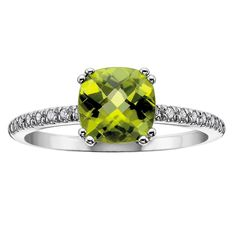 TJH Collection 9ct White Gold Cushion Cluster Peridot Diamond Shoulders Ring 51X68WG-10 PERI