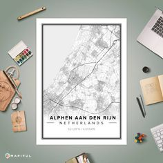 A map poster from Mapiful.com. A creative DIY tool to make your own map poster. This is 'Alphen aan den Rijn'