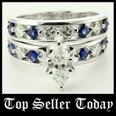 Inline Kite Set    Marquise Shaped Diamond Wedding Set With Blue Sapphire In 14K White Gold