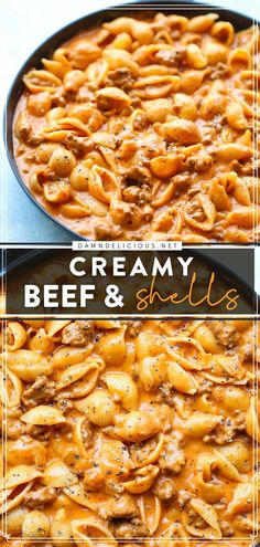 This ground beef recipe is what you need for a quick and easy meal! Soaked in all that creamy goodness with pasta shells, this comfort food is heaven on a skillet. You'll want to have this family dinner idea again and again! Italian Dinner Recipes, Easy Dinner Recipes, Dinner Ideas, Yummy Recipes, Vegan Recipes, Meal Ideas, Food Ideas, Easy Pasta Recipes, Recipes