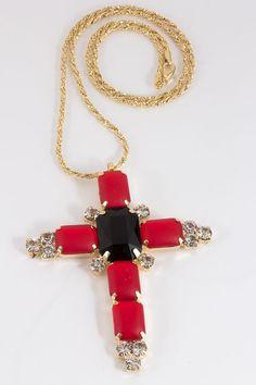 Colar Crucifixo Vermelho - LunediOro