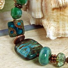 Teal Waves  Glass Summer Beach Bracelet by enlalumiere on Etsy, $34.50