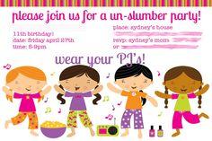Slumber Party Invitation Designs For Girls Ideas