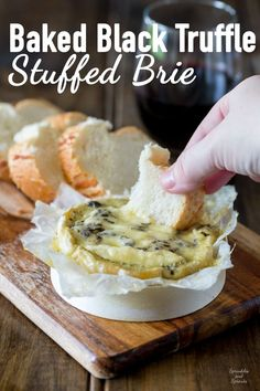 Creamy brie, enhanced with the earthy delicious flavours of black truffle all baked to oozing delicious perfection! Seriously this Baked Black Truffle Stuffed Brie is decadence and heaven on a plate!