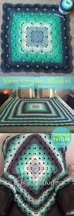 Free Pattern Virus Crochet Blanket The Beautiful and timeless stitch used in many projects: crochet blanket, throw afghan, and crochet clothes. size: 48X48"