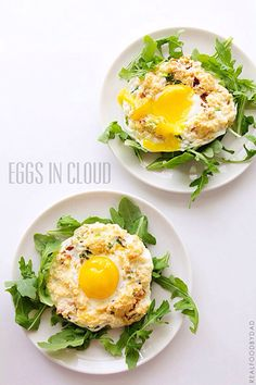 Eggs in Cloud - 4 large eggs, separated 4 pieces pancetta, browned, drained and crumbled 3 tablespoons chopped green onions 1/4 cup shredded or grated cheese of choice (i used a combination of grated parmesan and shredded Mexican cheese