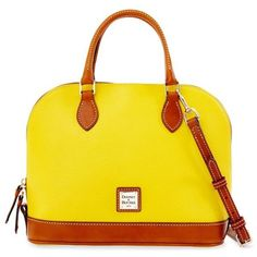 Dooney  Bourke Sunset Pebble Grain Zip Zip Satchel ($198) ❤ liked on Polyvore featuring bags, handbags, sunset, handbag satchel, yellow handbag, satchel purse, zip zip satchel and zipper purse