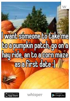 I want someone to take me to a pumpkin patch, go on a hay ride, an to a corn maze as a first date :)
