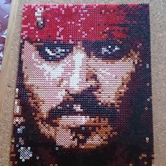 Jack Sparrow (Johnny Depp) portrait Photopearls Nabbi perler beads by mr.perler