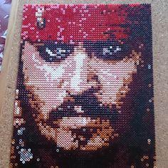 Jack Sparrow (Johnny Depp) portrait Photopearls Nabbi perler beads by mr.perler