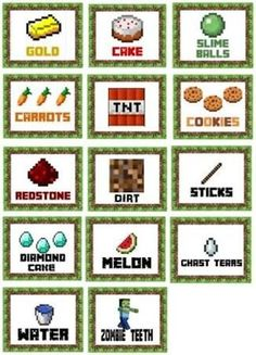 Halloween Class Party Ideas for Grades – Joy in the Works - Minecraft, Pubg, Lol and Minecraft Food Labels, Minecraft Party Games, Minecraft Party Decorations, Minecraft Birthday Party, Minecraft Crafts, Minecraft Houses, Mindcraft Party, Mindcraft Cakes, Halloween Class Party