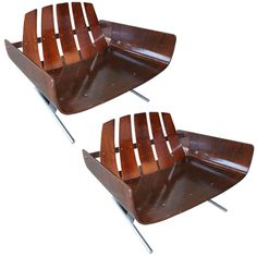Very Rare Pair of 70's Armchairs by Jorge Zalszupin | From a unique collection of antique and modern lounge chairs at http://www.1stdibs.com/furniture/seating/lounge-chairs/