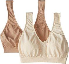 bf5fa36de94 Bali Women s Comfort Revolution Microfiber Crop Bra 2-Pair Beige Nude  XX-Large