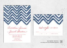 Printable DIY Chevron Wedding Invitation by blackberrygraphics, $30.00
