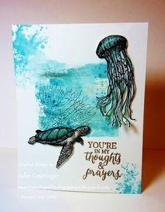 CAS Masculine Seascape by Julie Gearinger - Cards and Paper Crafts at Splitcoaststampers