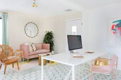 Oh Joy!'s Office Makeover Is A Candy-Colored Dream Space - Home Office with Living Area Chair / Seating and Couch / Seating Workspace Design, Home Office Design, Home Office Decor, Home Decor, Office Designs, Cool Office Space, Small Room Design, Office Seating, Office Makeover