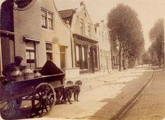 Melkventer Hendrik Ringma met zijn hondenkar, beladen met melkbussen, in de Hoofdstraat te Koudum. Foto tussen 1920 en 1940.