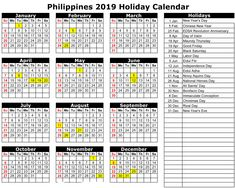 philippines 2019 holiday calendar