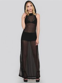 Sheer Hooded Maxi Dress from Widow, $66.00