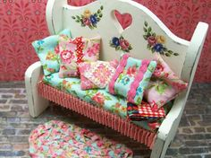 Miniature Furniture Country Primitive Rustic Bench Upholstered Pillows Quilt One Inch Scale Cottage Decor