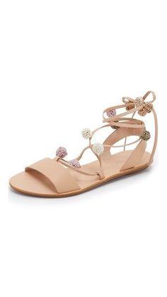 Loeffler Randal Saskia Pom Pom Lace Up Sandals