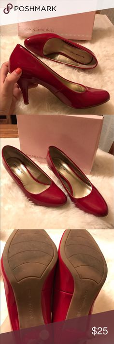 Bandolino red heels 👠 👠 Very cute red heels! Barely worn. Very good condition. There is slightly scratches and color issue on the back and side( see pic 4&5). Bandolino Shoes Heels