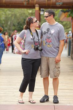 Wearing vintage matching T-shirts can be a fun way to explore the parks. So cute(: cant wait to do this with my husband