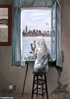 Girl at a Window 80 Years Later by Dali