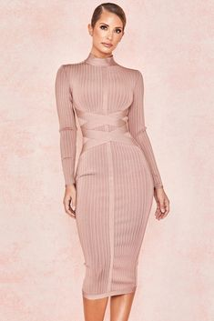 Look like a million dollars in this ribbed dress in a subtle shade of pink. The bodycon dress features a cross strap for the perfect figure-hugging fit for a stylish night out. Cheap Dresses, Sexy Dresses, Dress Outfits, Nice Dresses, Fashion Dresses, Party Dresses, Fitted Dresses, Holiday Dresses, Fashion 2018