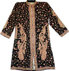 A beautiful men's garment covered in kashida embroidery.