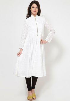 Full Sleeve Self Pattern White Kurta