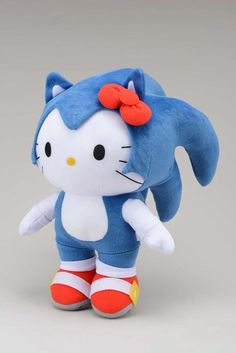 Sanrio X Sega  Sega has teamed up with Sanrio and their first project is this awesome jumbo plush. It will be available at Sega's Joyopolis - sort of a Japanese Dave & Buster's. According to Andriasang.com, the Sanrio x Sega projects will go worldwide next summer.    GIVE ME THIS PLUSH DOLL!! <3<3