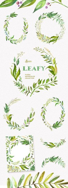 Leafy. Watercolor floral wreaths branches leaves by OctopusArtis