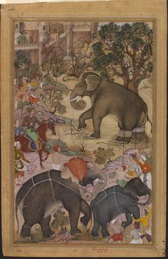 This illustration to the Akbarnama (Book of Akbar) depicts the Mughal emperor Akbar (r.1556–1605) on horseback, inspecting a wild elephant captured from a herd during a royal hunting expedition near Malwa in north central India. The elephant is shown tethered to a tree to start its training process, and two trained elephants can be seen in the foreground being led away. The manuscript describes in detail the process of training a wild elephant.