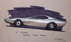 1968 Plymouth E-Body Barracuda Design Trend Study & Rendering by J. Samsen