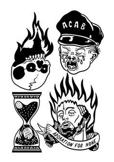Acab Tattoo, Cop Tattoos, Body Art Tattoos, Small Black Tattoos, Black Tattoo Art, Tattoo Flash Art, Tattoo Sketches, Tattoo Drawings, Disney Cartoons