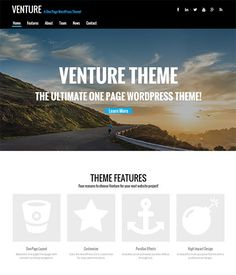 Venture theme is a super professional one page WordPress theme for modern businesses. Ideal for creative agencies, startups, small businesses, and freelancers and best of all it's so easy to use that you can have your website up in minutes!