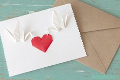 Handmade Origami Paper Cranes Card / Weddings / Save the Date / Anniversary / Congrats / Thank You / Speckled / Red Heart / Nana Zoolan / BC on Etsy, $6.90 AUD