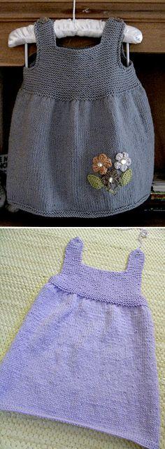 Easy Baby Knitting Patterns, Animal Knitting Patterns, Knitting Ideas, Girls Knitted Dress, Knit Baby Dress, Baby Cardigan, Loom Knitting, Knitting Stitches, Free Knitting