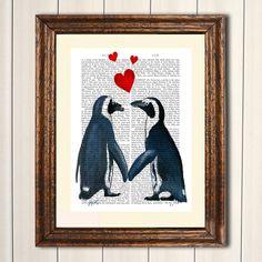 Digitaldruck - Pinguine in der Liebe Valentines Digitaler Druck - ein Designerstück von FabFunky bei DaWanda