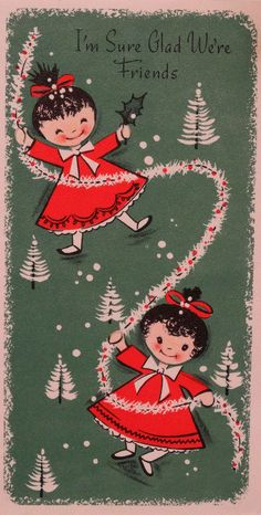 #610 50s Gibson Happy Little Girl! Vintage Christmas Card-Greeting