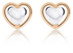 2-tone heart earrings