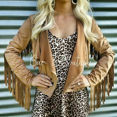 Suede Fringe Jacket ~ Follow @bar_t_boutique on Instagram  to Shop weekly New Arrivals