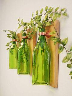 Wine Bottle Wall Decor teardrop bottles trio (3) wall decor each mounted on wood base for